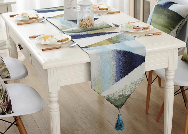 Fyjafon Table Runner Blue Modern Table Runners Oil Painting Runner Table Polyester Table Decoration Runners Home Textile