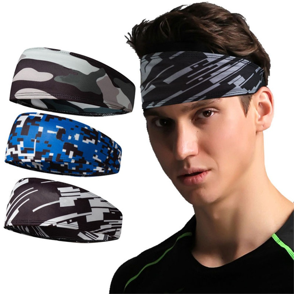 Camouflage blue Exercise Sport Gym Workout Yoga Running Women man THIN HEAD BAND