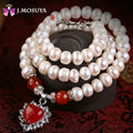 J.MOSUYA Natural Pearl Necklace With Jade & Red Agate Freshwater Pearl Jewelry For Women