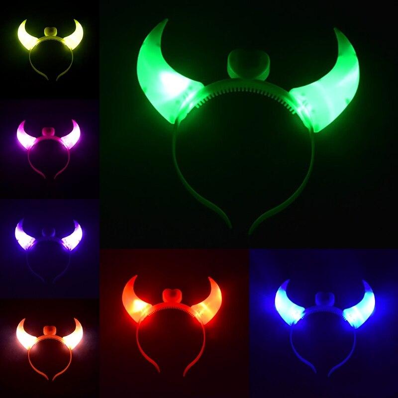LED Devil Light Up Headband Flashing Decoration For Halloween Christmas Party