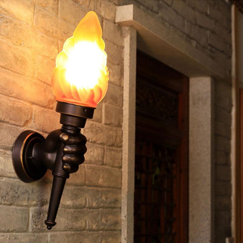 Torche créative main applique extérieure lumière jardin cour porche salon chambre escalier couloir restaurant café lumière soutien-gorge