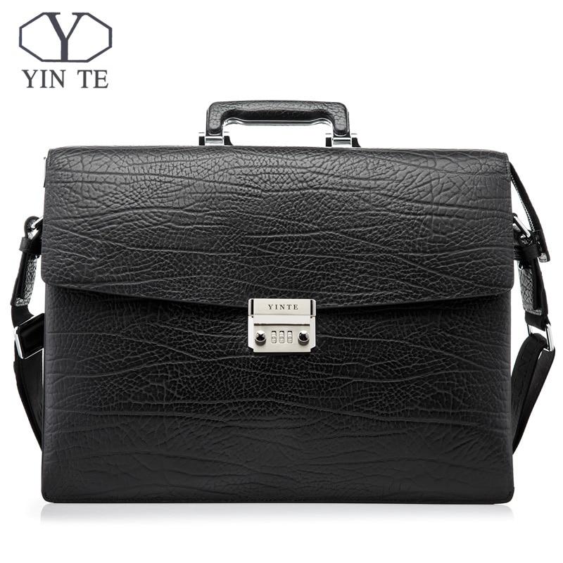 YINTE Fashion Men Briefcase Leather Men Bag Business Lawyer Case High Quality 15inch Laptop Messenger Portfolio Tote T8010-3