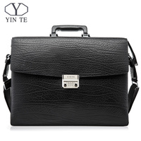 YINTE Fashion Men Briefcase Leather Men Bag Business Lawyer Case High Quality 15inch Laptop Messenger Portfolio Tote T8010 3