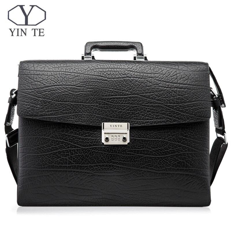 da3535934f19 Yin te модный для мужчин Портфели Кожа Мужская сумка, бизнес адвокат случае  Высокое качество 15
