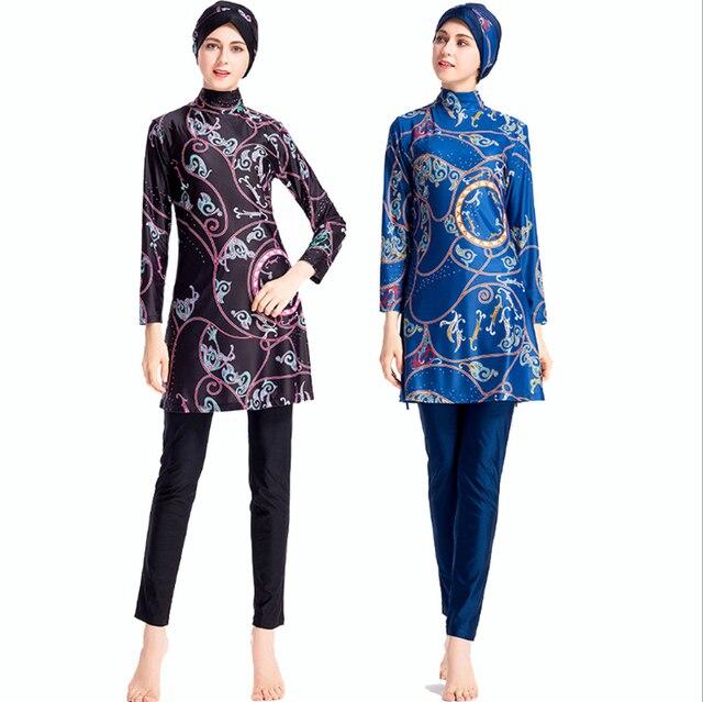 2019 Bunga Sederhana Muslim Baju Renang Wanita Islam Tiga Potong Penuh Penutup Islam Baju Renang Lengan Panjang Hijab Beachwear Plus Ukuran