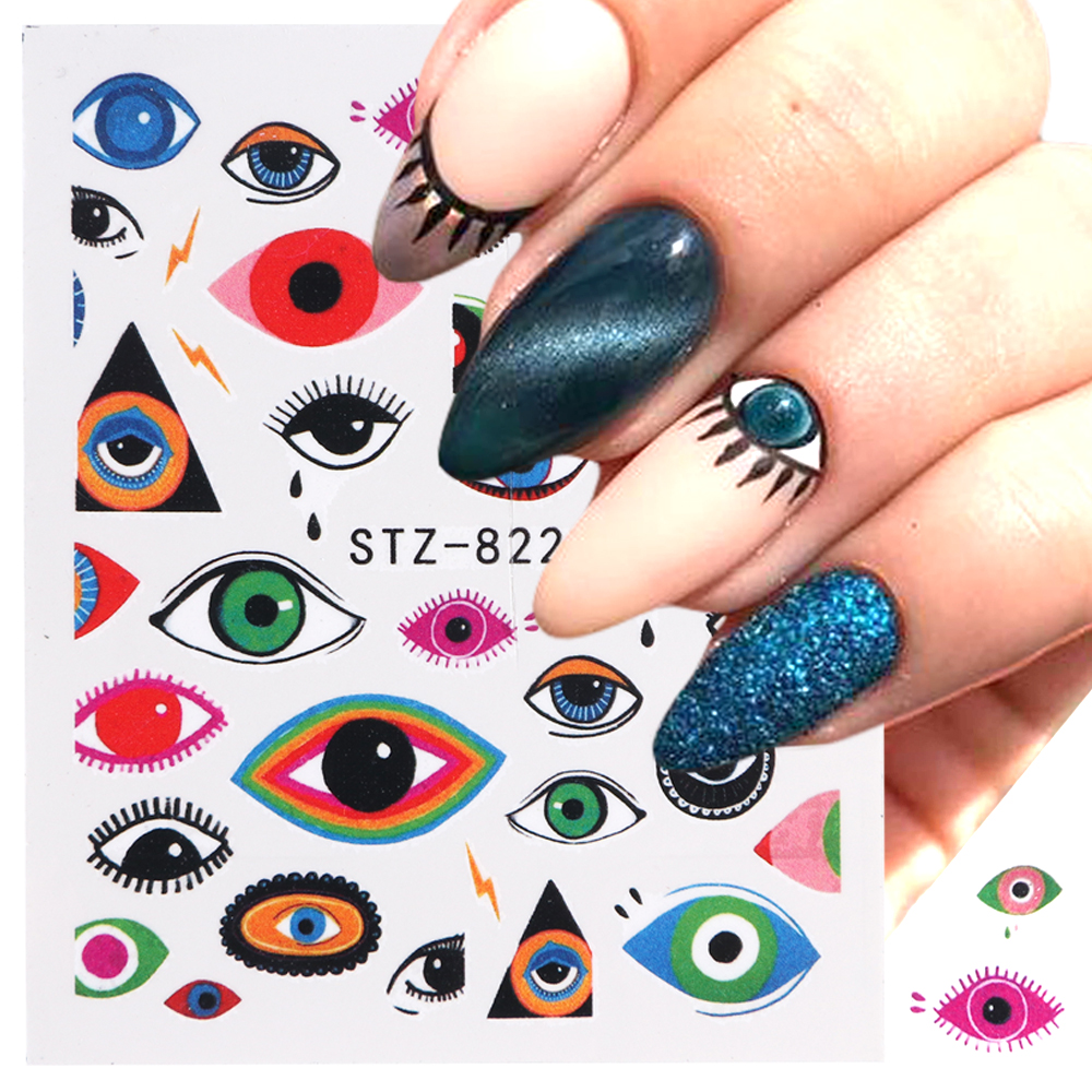 Image 4 - 1pc Eye Series Water Transfer Slider for Nail Art Decorations Charming Sticker Nail Manicure Tattoos Foil Decals CHSTZ818 823-in Stickers & Decals from Beauty & Health