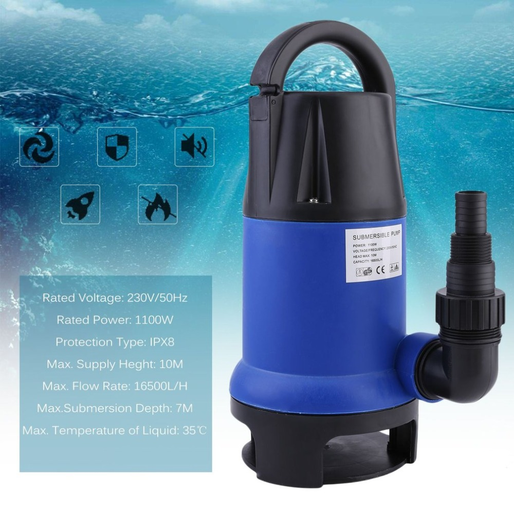1100W Heavy Duty Electronic Submersible Dirty Water Pump Bore Sewage Septic Sewerage Tank 16500L/h For Pool Pond Parts AU Plug high capacity non clog sewage submersible pump septic tank pump basement sewage pump