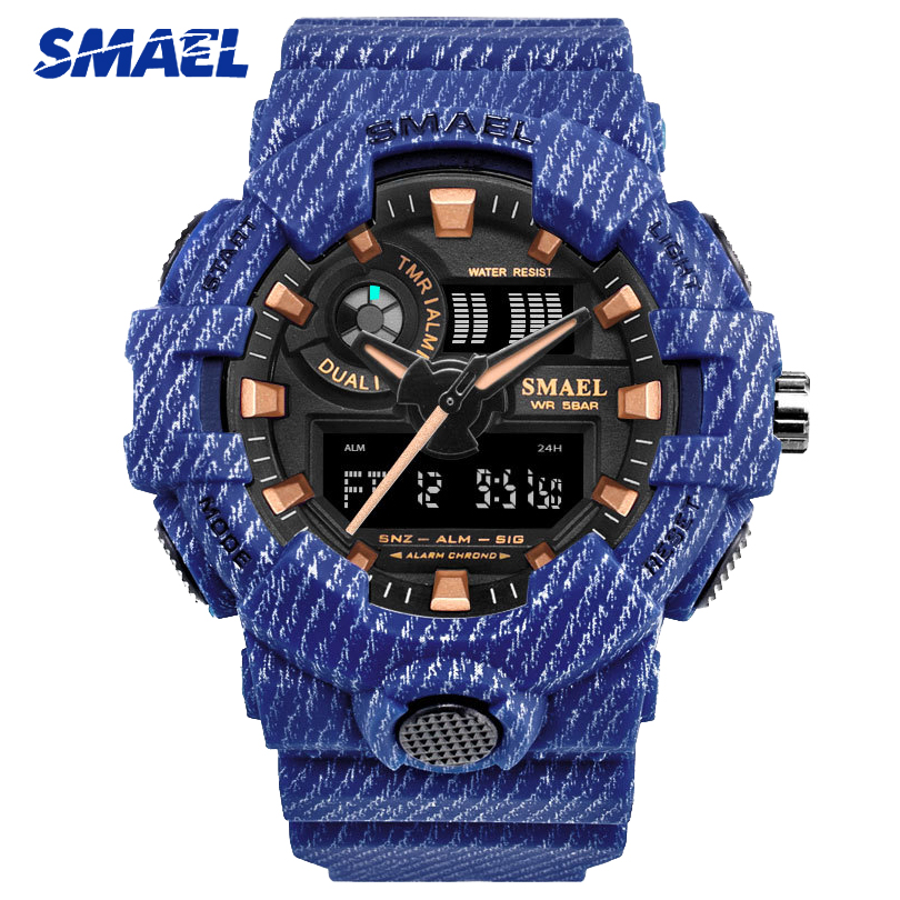 SMAEL Blue Camouflage Fashion Sports Watches Men Digital Wrist watches Man Student Quartz Electronic Dual Display Wristwatches smael 1708b