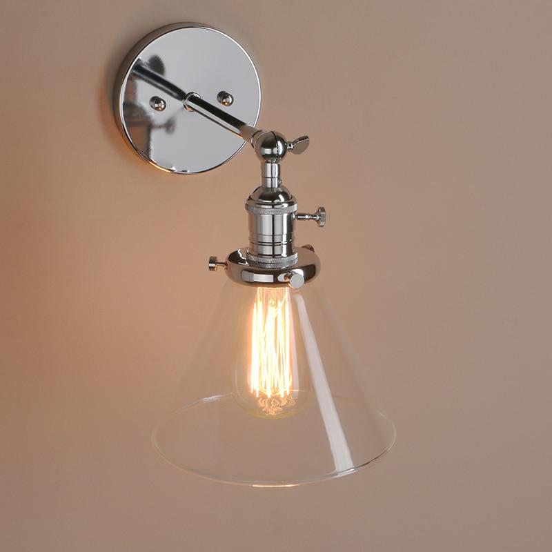 PERMO 7.2\'\' Funnel Glass Edison Wall Lamp antique brass light modern ...