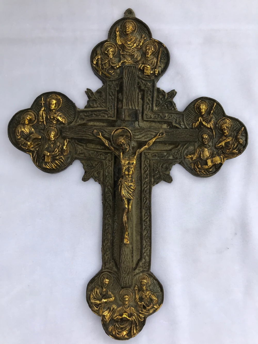 Jésus chrétien croix cuivre Antique religieux