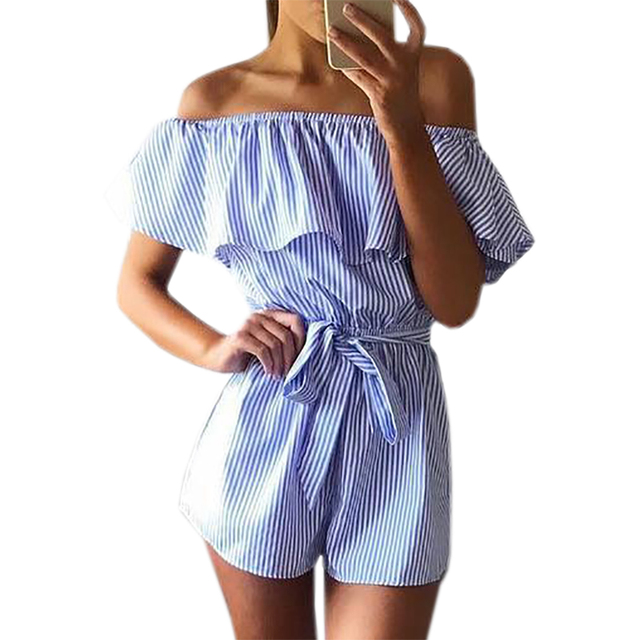 b7095d6a90c Summer Women Playsuits Jumpsuits Casual Striped Playsuit Ruffles Slash Neck  2018 Beach Overalls Pink Blue Girls Femininos GV571