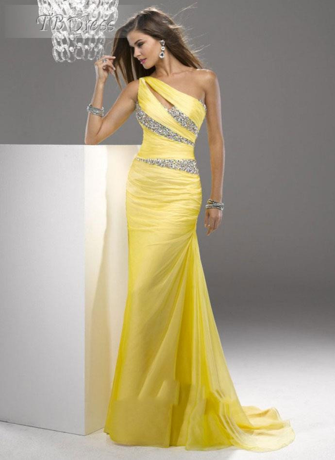 2019 Elegant Simple Yellow Evening Dresses One Shoulder Beaded Mermaid Embellished Backless Chiffon Evening Gowns Prom Gowns