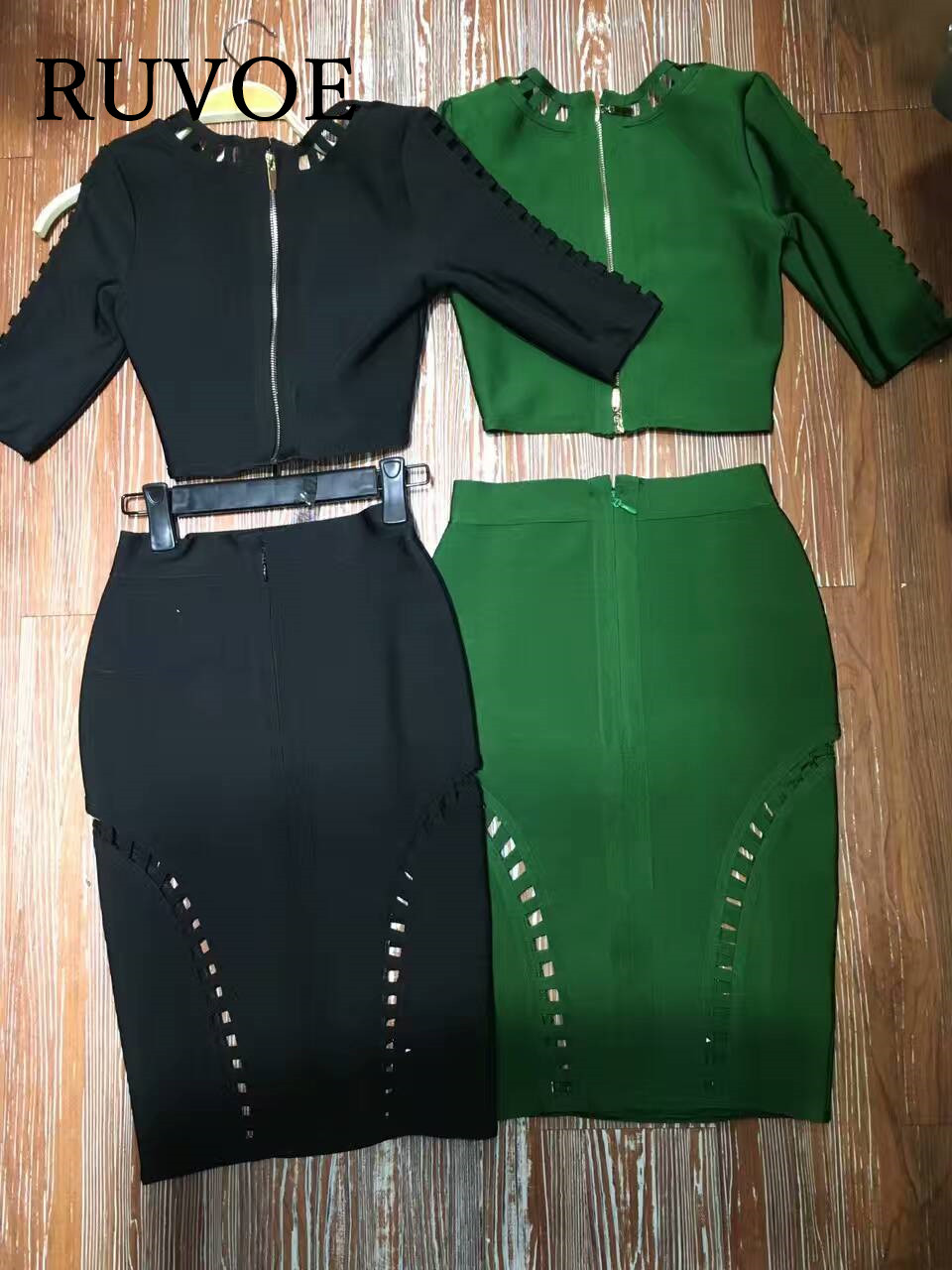 Women 2 two pieces set black and green half sleeve V neck elegant evening party prom