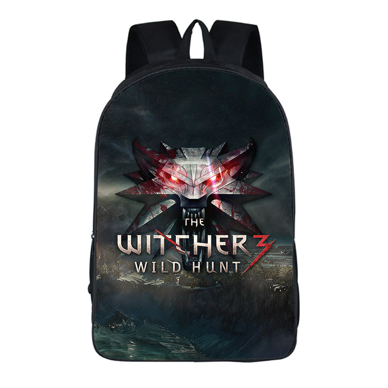 Game The Witcher Wild Hunt 3d Printing Backpack Men Canvas Backpacks Witcher Cool Cosplay School Laptop Travel Rucksack A71702