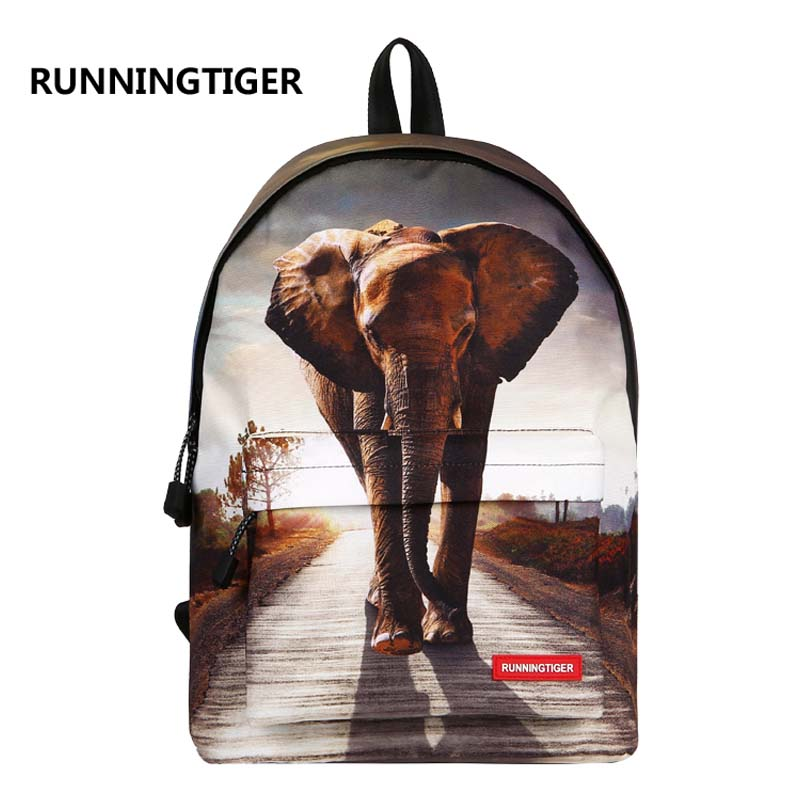 RUNNINGTIGER College Student's Backpack for Women 3D Animal Printed School Bags For Teenage Girls Casual Female Mochila