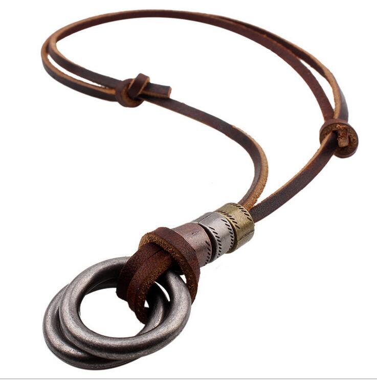 100% Genuine Leather Men Necklaces Pendas