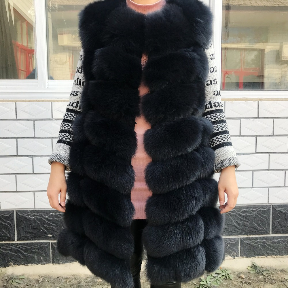 90CM Real Natural Fox Fur Vest New Thick Winter Long Thick Women Genuine Fur Vest Jacket Pockets Real Fur Vest Coats For Women