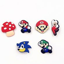 1Pcs Super Mario Cartoon Icons Badge Bacges Pins On Backpack Clothing shoes hats scarf PVC Brooches Badges Kids children Gift(China)