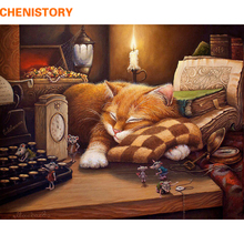 CHENISTORY Frameless Sleeping Cat DIY Painting By Numbers Wall Art Picture Home Decor Acrylic Paint For Gift 40x50cm