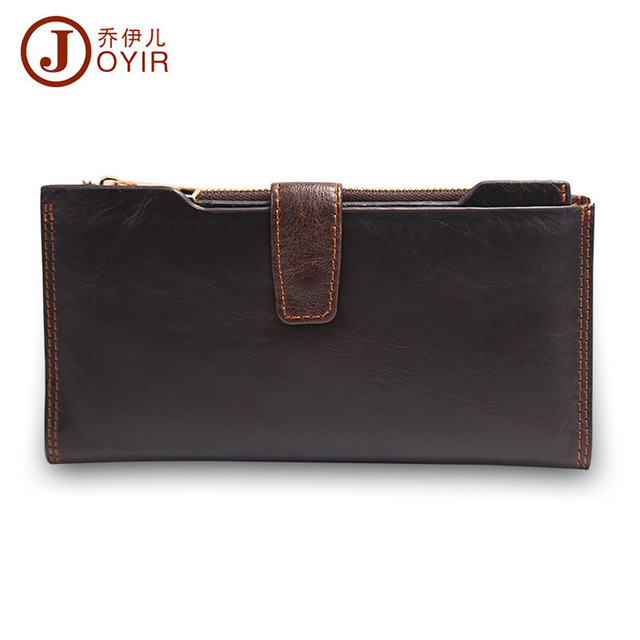 JOYIR 2017 Genuine Leather Men Wallets Hasp Zipper Design Business Male Wallet Fashion Purse Card Holder Long Clutch Wallets