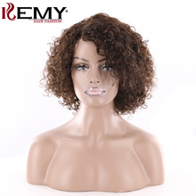 KEMY HAIR FASHION Short Human Hair Wigs Side Part hair extensions Wigs Brazilian Afro Kinky Curly Non-Remy Wigs For Black Women