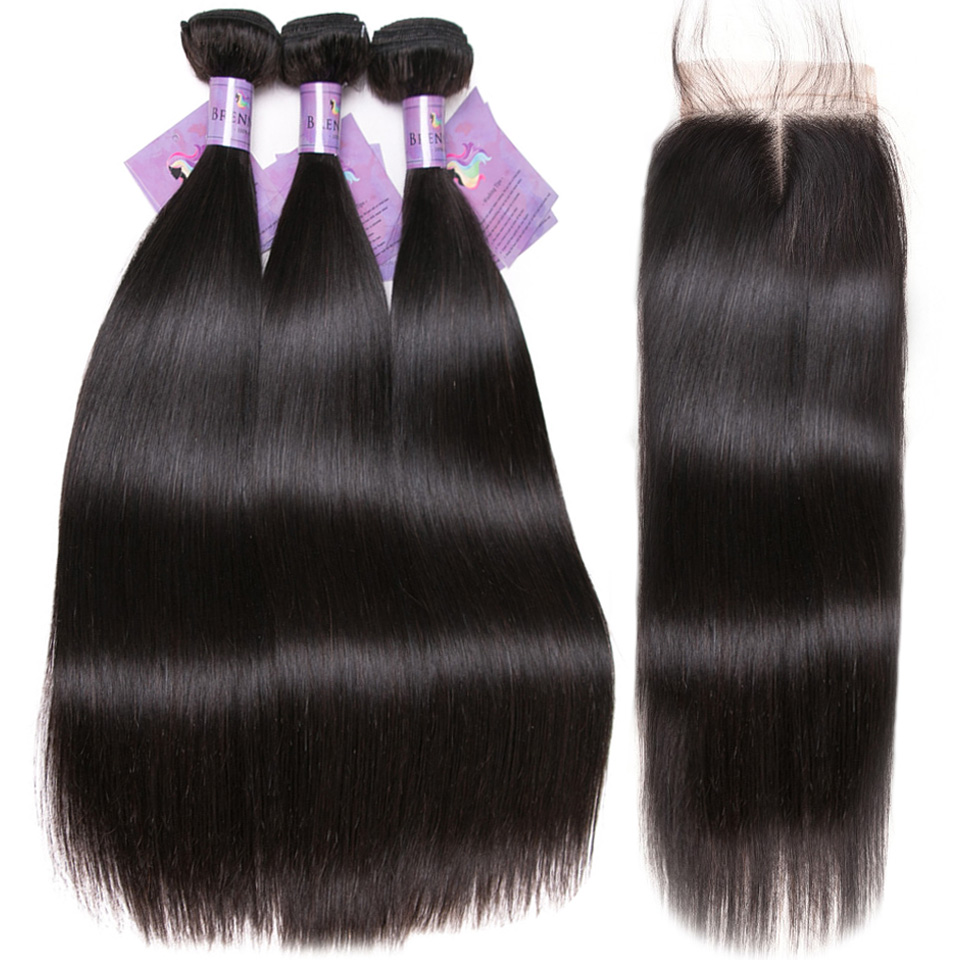 Straight Human Hair Extention with closure 100 Peruvian Soft Remy hair weave Bundles 3pcs 4pcs with