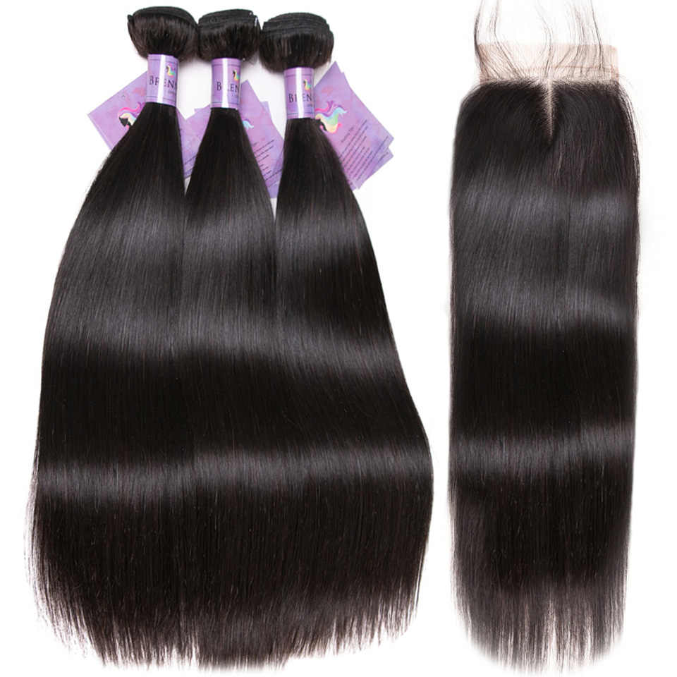 Straight Human Hair Extention with closure 100% Peruvian Soft Remy hair weave Bundles 3pcs 4pcs with lace closure for women