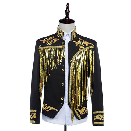Free ship font b mens b font bling black white sequined golden silver embroidery stage performance