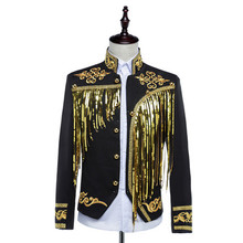 Free ship mens bling black/white sequined golden/silver embroidery/stage performance short tuxedo jacket