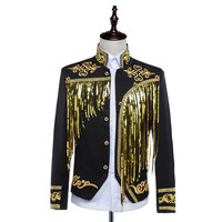 Free Ship Mens Bling Black White Sequined Golden Silver Embroidery Stage Performance Short Tuxedo Jacket