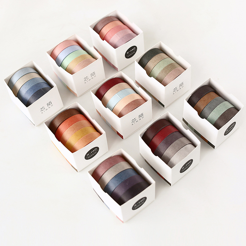5pcs 10mm*5M Solid Color Paper Tape DIY Decorative Scrapbooking Masking Washi Tape Stationery Office Adhesive Tape