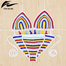 Sexy Handmade Crochet Bikini women crochet Swimsuit Brazilian Bikini 2018 Women Swimwear Bathing Suit hot sale beach suit