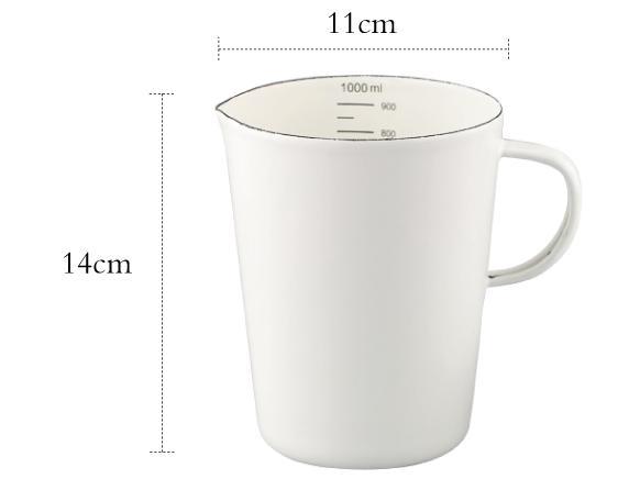 Эмалированный мерный стакан со шкалой молока может кофе чашка воды - Цвет: B1