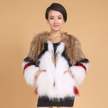 New genuine real natural women's knitted raccoon fur coat ladies knit jacket girl's outwear overcoat