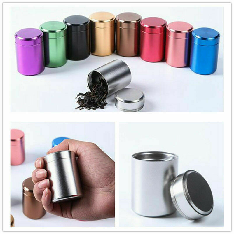 1PC Airtight Smell Proof Container Aluminum Herb Stash Tea Metal Sealed Can Jars Tea Caddies