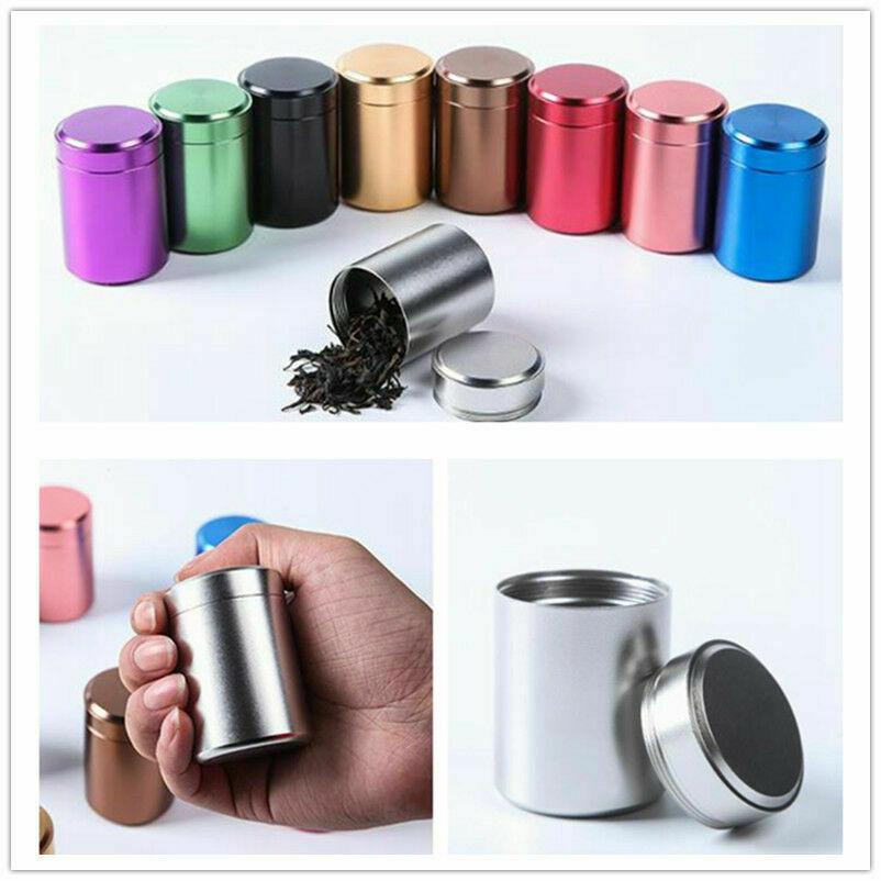 1PC Airtight Smell Proof Container Aluminum Herb Stash Tea Metal Sealed Can Jars Tea Caddies