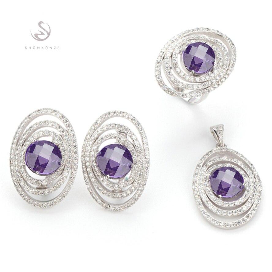 80a09f36e3f Fleure Esme suntuoso Purple Cubic Zirconia plateado joyería conjunto  corazón (anillo pendiente colgante) r3263set sz6 7 8 9 nuevo