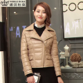Factory 2016 New Women's Genuine Sheep Skin Leather Jacket Ladies Fashion Lapel Slim Short Duck Down Winter Coats