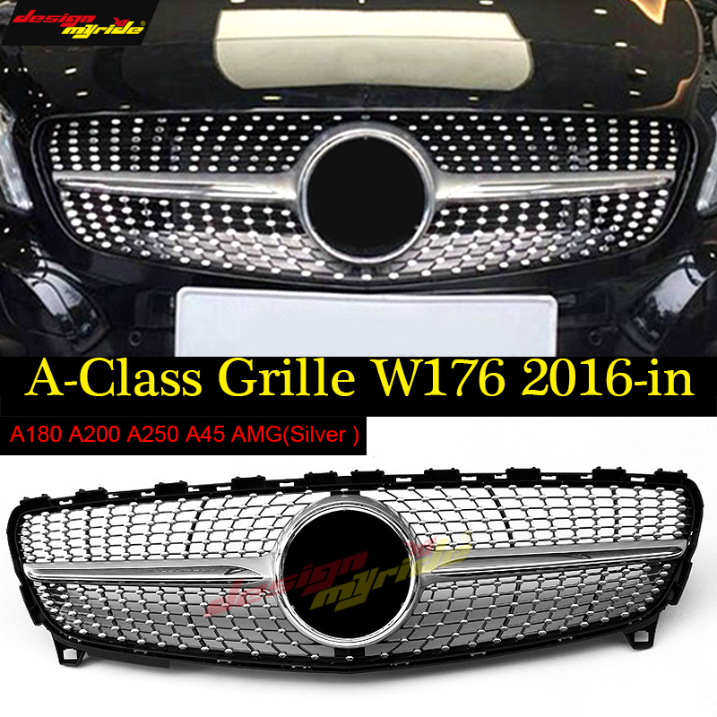 W176 Diamond Front Grill Grille Silver ABS for Mercedes Benz A180 A200 A250 A45AMG Look Without