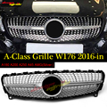 W176 Алмазная Передняя решетка для гриля Серебряная ABS для Mercedes Benz A180 A200 A250 A300 A45 вид без звезды логотип Гриль грили 2016-18
