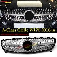 W176 алмаз Передняя решетка решетки серебристого цвета из АБС пластика для Mercedes Benz A180 A200 A250 решетка A45AMG 2016 без Логотип звезда