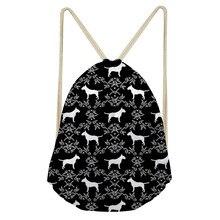 ThiKin Bull Terrier Classic Fashion Animal Girl Backpack Printing Women Travel Mochila Backpacks Men's Bags Drawstring