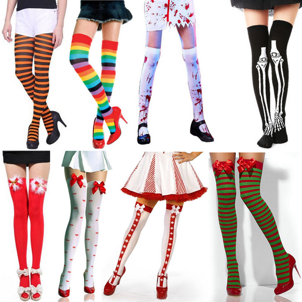 Halloween Christmas Xmas Festival Stockings Women Cable Extra Long Boot Over Knee Socks Thigh High School Girl Bowknot Stocking