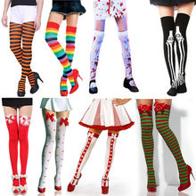 5fd220c7a33 Halloween Christmas Xmas festival Stockings Women Cable Extra Long Boot Over  Knee Socks Thigh High School
