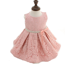 2016 Newborn Baby Toddler Infant Girl Lace Princess Dresses with Hat Christening Ball Gowns White Pink Flower Baptism Dress Tutu