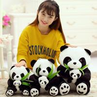 SST 30cm Lovely Stuffed Panda Mother And Panda Baby Doll Parent Child Plush Toys Bamboo Doll