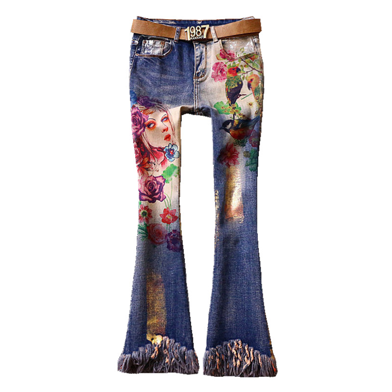 Women's Clothing 2018 Autumn Fashion Hot Drilling Jeans Women Slim Skinny Pencil Printed Jeans Plus Size 25-32