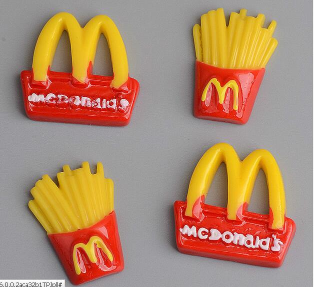 10pcs-50pcs-100pcs Cute Miniature Fake M Sign French Fries Food DIY Flatback Flat Back Resin DIY House Decorative Craft