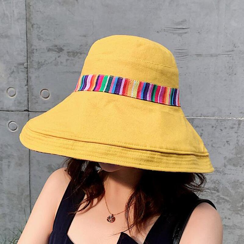 HTB1wiXMJsbpK1RjSZFyq6x qFXaQ - Double sided irregular Pattern Bucket Hat Women Summer Cotton Breathable Leisure Bob Caps Outdoor Sports Casual Dome Panama Cap