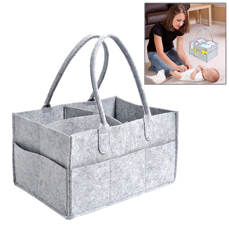 Baby Diaper Bag Foldable Felt Storage Bags Diaper Caddy Newborn Nappy Changing Bag Child Toy Tote Stroller Organizer Accessories